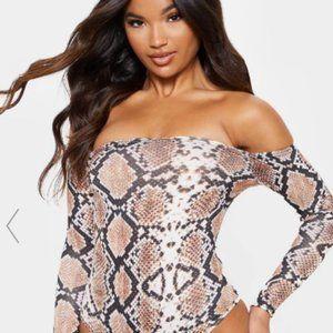 Bardot Snake Print Bodysuit NWT L Off Shoulder